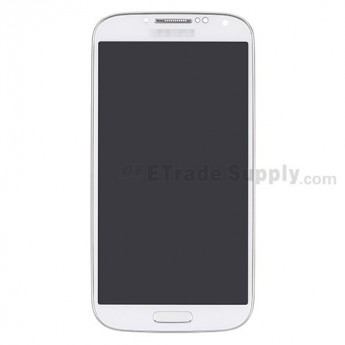 For Samsung Galaxy S4 GT-I9500 LCD Screen and Digitizer Assembly with Front Housing Replacement - White - With Logo - Grade S