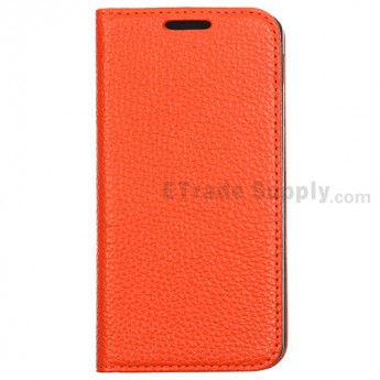 For LG Nexus 5 D820 Lichee Pattern Leather Case - Orange - Grade R