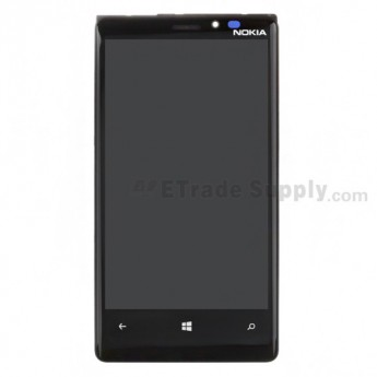 For Nokia Lumia 920 LCD Screen and Digitizer Assembly with Front Housing Replacement - Black - With Nokia Logo - Grade R