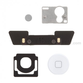 For Apple iPad 2 Home Button and Mounting Bracket Set Replacement - White - Grade S+