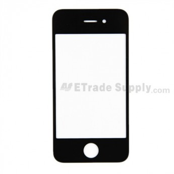 For Apple iPhone 4 Glass Lens with Front Frame Replacement (AT&T) - Black - Grade S+