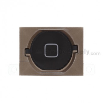 For Apple iPhone 4S Home Button with Rubber Gasket and Adhesive Replacement - Black - Grade S+