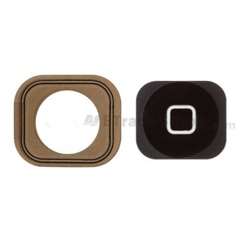 For Apple iPhone 5 Home Button with Rubber Gasket Replacement - Black - Grade S+