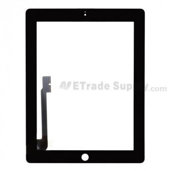 For Apple iPad 3/iPad 4 Digitizer Touch Screen Replacement - Black - Grade S