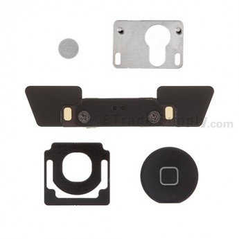 For Apple iPad 3 Home Button and Mounting Bracket Set Replacement - Black - Grade S+
