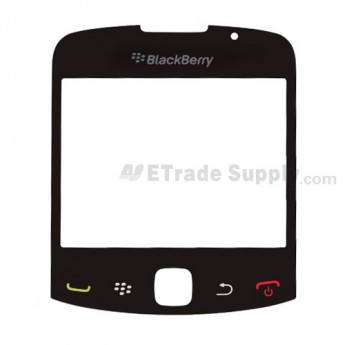 For BlackBerry Curve 3G 9330 Glass Lens Replacement - Black - Grade S+