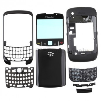For BlackBerry Curve 8520 Complete Housing Replacement - Black - Grade A