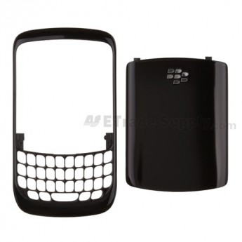 For BlackBerry Curve 8520 Front Cover and Battery Door Replacement - Black - Grade S+