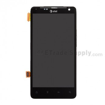 For HTC Vivid LCD Screen and Digitizer Assembly with Front Housing and Light Guide Replacement - Black - With Logo - Grade A