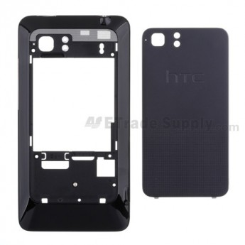 For HTC Vivid Rear Housing and Battery Door Replacement - Black - Grade S+