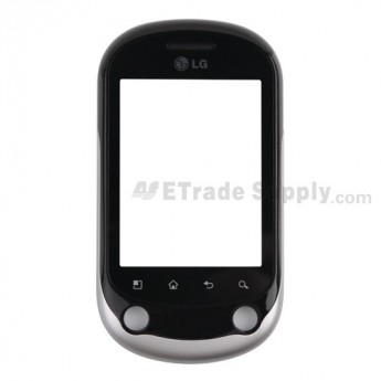 For LG Optimus Chat C550 Digitizer Touch Screen with Front Housing Replacement - Black - Grade S+
