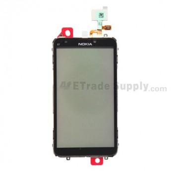 For Nokia E7 Digitizer Touch Panel with Metal Frame Replacement - Grade S+