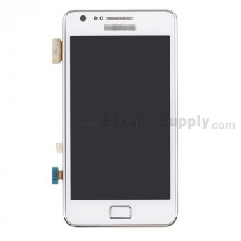 For Samsung Galaxy S II i9100 LCD Screen and Digitizer Assembly with Front Housing Replacement - White - With Logo - Grade S+