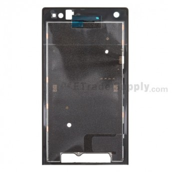 For Sony Xperia S LT26i Front Housing with Adhesive Replacement - Black - Grade S+