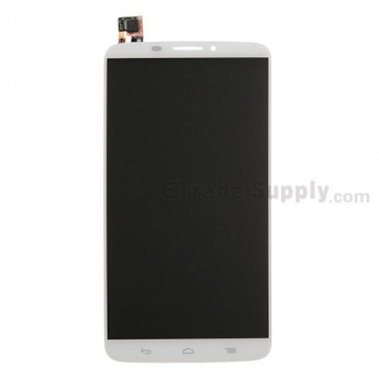 For Alcatel One Touch Hero LCD Screen and Digitizer Assembly  Replacement - White - Without Any Logo - Grade S+