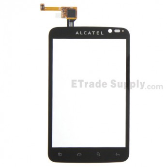 For Alcatel One Touch OT-991 Digitizer Touch Screen Replacement - Black - With Logo  - Grade S+