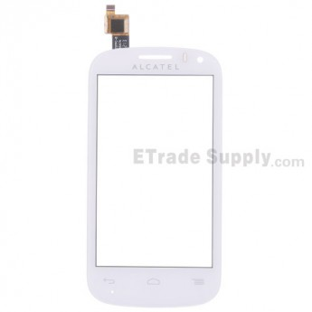 For Alcatel One Touch Pop C3 Digitizer Touch Screen Replacement - White - With Logo - Grade S+