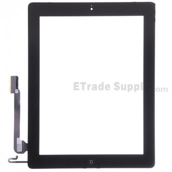 For Apple iPad 4 Digitizer Touch Screen Assembly Replacement (Wifi Plus 3G Version) - Black - Grade S