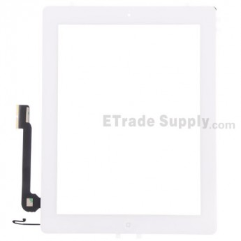 For Apple iPad 4 Digitizer Touch Screen Assembly Replacement (Wifi Plus 3G Version) - White - Grade S