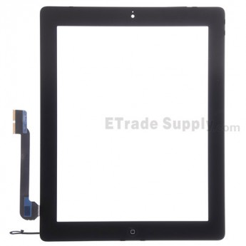 For Apple iPad 4 Digitizer Touch Screen Assembly Replacement - Black - Grade S
