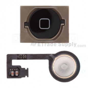 For Apple iPhone 4S Home Button with Flex Cable Ribbon Replacement - Black - Grade S+