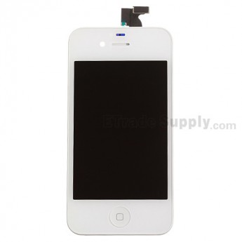 For Apple iPhone 4S LCD Screen and Digitizer Assembly with Frame and Home Button Replacement - White - Grade S+