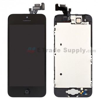 For Apple iPhone 5 LCD Screen and Digitizer Assembly with Frame and Home Button Replacement - Black - Grade S+
