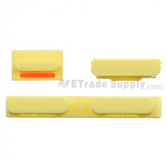 For Apple iPhone 5C Side Keys Replacement - Yellow - Grade S+