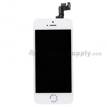 For Apple iPhone 5S LCD Screen and Digitizer Assembly with Frame and Home Button Replacement - White - Grade S+