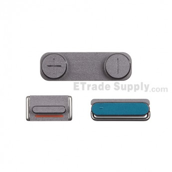 For Apple iPhone 5S Side Keys Replacement - Gray - Grade S+