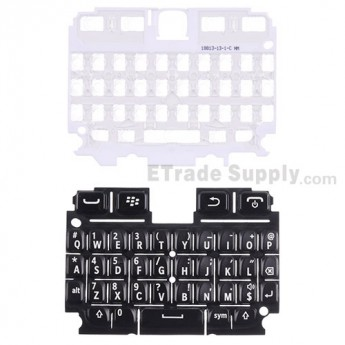 For Blackberry 9720 QWERTY Keypad with Bezel Replacement - Black - Grade S+