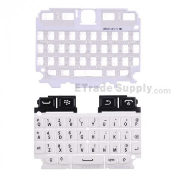 For Blackberry 9720 QWERTY Keypad with Bezel Replacement - White - Grade S+