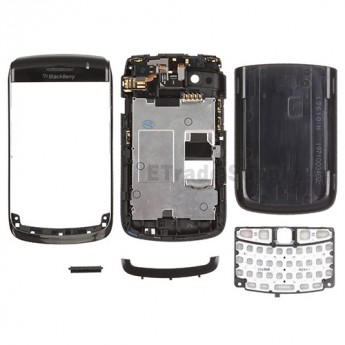For BlackBerry Bold 9700 Complete Housing Replacement - Black - Grade S+