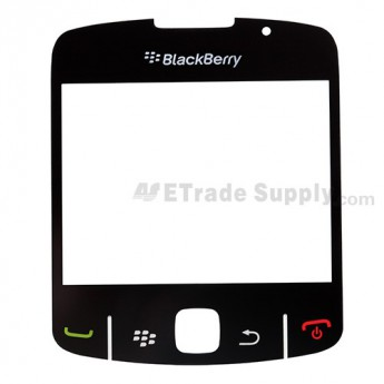 For BlackBerry Curve 8520, 8530 Glass Lens with Adhesive  Replacement ,Black - Grade S+