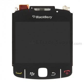 For BlackBerry Curve 8520, 8530 LCD with Metal Frame and Glass Lens Replacement (11059-005/004) ,Black - Grade S+