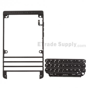For BlackBerry Porsche Design P'9981 Front Housing with QWERTY Keypad  Replacement - Black - Grade S+