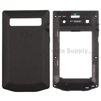 For BlackBerry Porsche Design P'9981 Rear Housing and Battery Door Replacement - Black - Grade S+
