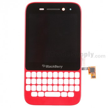 For BlackBerry Q5 LCD Screen and Digitizer Assembly with Frame Replacement (LCD-49754-001/111) - Red - Grade S+