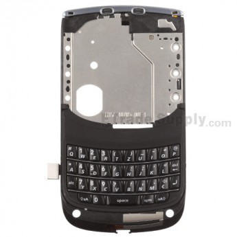 For BlackBerry Torch 2 9810 Middle Metal Plate with QWERTZ Keypad Replacement - Black - Grade S+