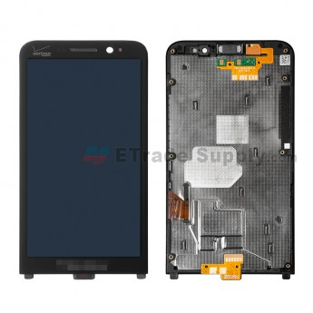 For BlackBerry Z30 LCD Screen and Digitizer Assembly with Frame Replacement (Verizon) - Black - With Verizon Logo - Grade S+