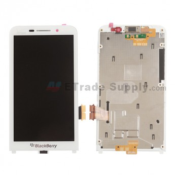 For BlackBerry Z30 LCD Screen and Digitizer Assembly with Frame Replacement (Verizon) - White - With Verizon Logo - Grade S+