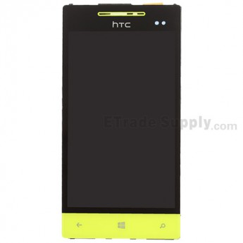 For HTC 8S LCD Screen and Digitizer Assembly with Front Housing and Navigator Flex Replacement - Neon Yellow - Grade S+