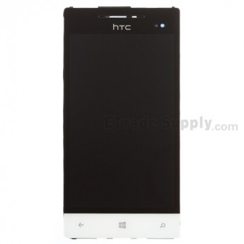 For HTC 8S LCD Screen and Digitizer Assembly with Front Housing and Navigator Flex Replacement - White - Grade S+