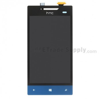 For HTC 8S LCD Screen and Digitizer Assembly with Navigator Flex Cable Ribbon - Blue -With Logo - Grade S+