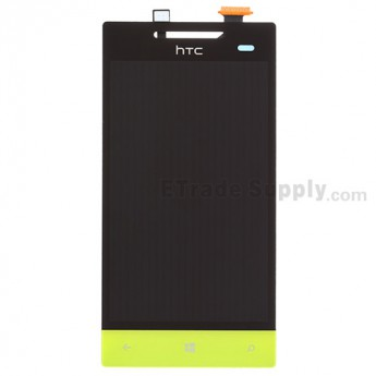 For HTC 8S LCD Screen and Digitizer Assembly with Navigator Flex Cable Ribbon Replacement - Neon Yellow - With Logo - Grade S+