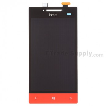 For HTC 8S LCD Screen and Digitizer Assembly with Navigator Flex Cable Ribbon Replacement - Red - With Logo - Grade S+