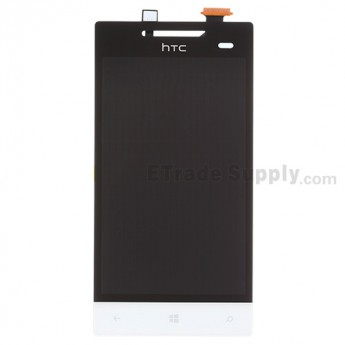 For HTC 8S LCD Screen and Digitizer Assembly with Navigator Flex Cable Ribbon Replacement - White - With Logo - Grade S+
