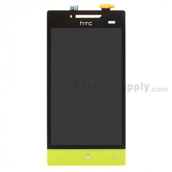 For HTC 8S LCD Screen and Digitizer Assembly without Light Guide  Replacement ,Neon Yellow, With Logo - Grade S+