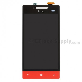 For HTC 8S LCD Screen and Digitizer Assembly without Light Guide  Replacement ,Red, With Logo - Grade S+