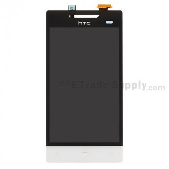 For HTC 8S LCD Screen and Digitizer Assembly without Light Guide  Replacement ,White, With Logo - Grade S+